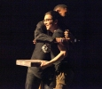 Christopher Cruz, theater freshman and P.R.I.D.E. president, is given a few gift from Terrence Clemens, LGBTQ+ issues speaker, who thanked Cruz for communicating with him and bringing him to MSU for the first social justice movement week, this event was held in Fain FIne Arts Auditorium, March 31. Photo by Rachel Johnson