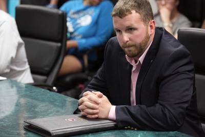 Jesse Brown, MSU graduate, waits for the trial to begin regarding his campaign procedures to the Election Board Committee at the Student Government Association Presidential Trial in the Clark Student Center Thursday, April 16, 2015. Photo by Francisco Martinez