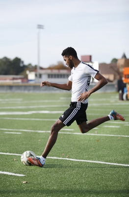 Justin Beasley, computer science junior, practice soccer in the MSU practice fields Friday, Nov. 17, 2017. Photo by Francisco Martinez