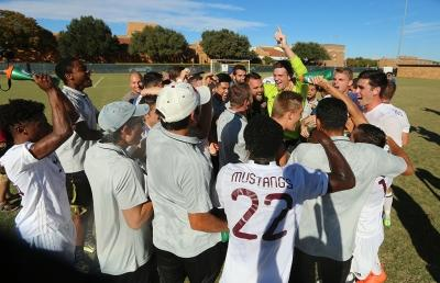 Players react after winning the Heartland Conference championship game aginst St. Edward's University. MSU won 1-0. Photo by Bradley Wilson