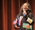 Valandra Jno Marie, freshman management, hits high notes during the talent portion on the 2017 Mr. and Mrs. Caribfest in Akin Auditorium on Sept 28. Photo by Marissa Daley