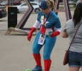 Alyssa Morse, a graduate student in psychology, dressed as Capt. America for superhero day during the Party at the Quad in the soccer field parking lot. Photo by Avery Whaite.