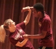 Tessa Rae Dschaak, theatre sophomore, with Xavier Alexander, theatre sophomore, as a negative consent response at the Since Last Night performed by the theatre in Akin Auditorium on Aug 25th. Photo by Kayla White.