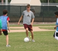 Ross Fitzpatrick before the soccer exhibition game, Aug. 23. Photo by Bradley Wilson