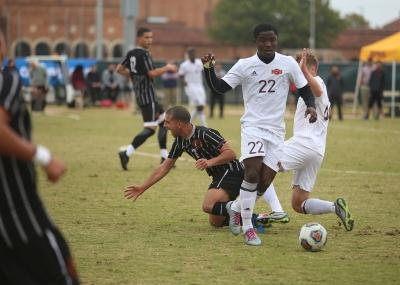 Saad Acheampong and another MSU player fight for the ball at the NCAA Division II South Central Regional, Nov. 12, 2017. MSU beat Colorado Mesa 3-0. Photo by Bradley Wilson