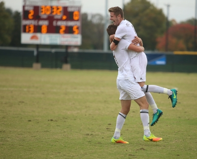 Ross Fitzpatrick and Patrick Fitzgerald after the team scores a second goal at the NCAA Division II South Central Regional, Nov. 12, 2017. MSU beat Colorado Mesa 3-0. Photo by Bradley Wilson