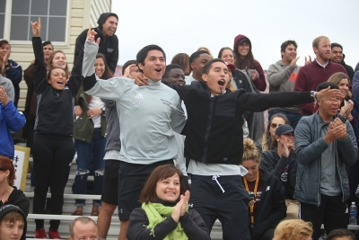 "Sergio Lara and Julian Varajas react when the team scores a goal at the NCAA Division II South Central Regional, Nov. 12, 2017. MSU beat Colorado Mesa 3-0. ""The communication on the field was going really good,"" Varajas said. Photo by Bradley Wilson"