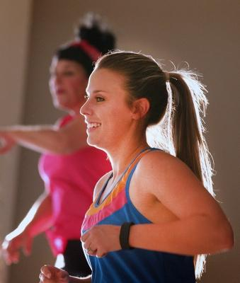 Jaci Hanes, education senior, participates in the Zumbathon Fundraiser with BESO at Sikes Lake Center on Oct.12. Photo by Harlie David