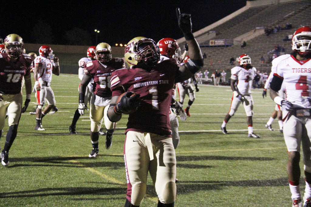 Keidrick Jackson, senior in criminal justice, celebrates after a touchdown in the second quarter. MSU would defeat the University of West Alabama in a rout of 45-21 October 19 at Memorial Stadium. Jackson rushed for 136 yards and had three touchdowns becoming MSU's all-time leading rusher with 3,596 yards.