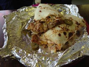 Chicken combo burrito from the Burrito Shop.