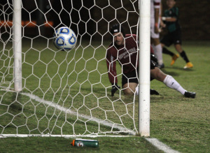 Goalkeeper Nick Petolick, business management junior, watches as the ball sails past him into the net at the match against Eastern New Mexico on Monday, Oct. 27, 2014, at the campus soccer field. Photo by Lauren Roberts