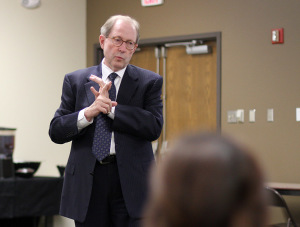 Midwestern State University President Jesse Rogers gives opening remarks Wednesday about funding and the legislatuive session next semester before the campus facilities implementation plan community forum in Shawnee Theater. Photos by Lauren Roberts