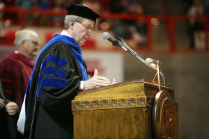 University President Jesse Rogers delivers the closing remarks at Midwestern State University graduation, May 10, 2014. As the speaker at graduation this spring, Rogers will have attended 75 MSU graduations. Photo by Ethan Metcalf