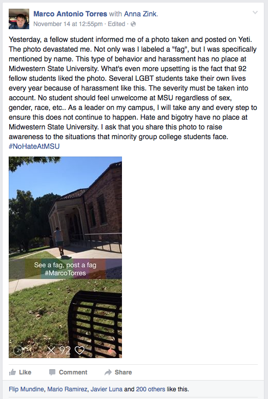 Posted on Yeti An anonymous student posted this photo of Marco Torres on Yeti. Torres responded with a message of zero tolerance for hate and bigotry on Facebook that has received almost 900 shares and 300 likes.