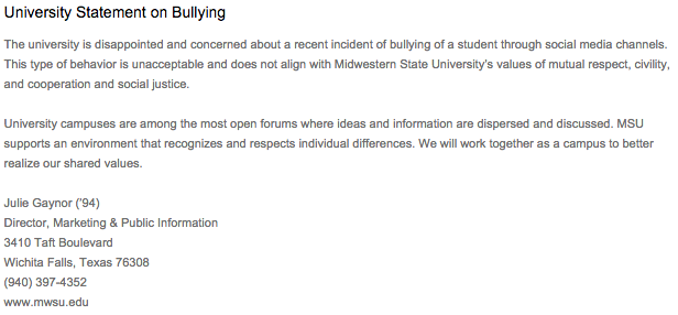 Statement released by the university regarding recent bullying incidents. Screenshot taken from my.mwsu.edu