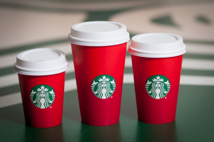 The holiday cups – sans any holiday greeting. Photo courtesy of Starbucks.