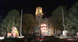 The Hardin Administration Building with the Fantasy of Lights displayed in front on Nov. 30. Photo by Kayla White.