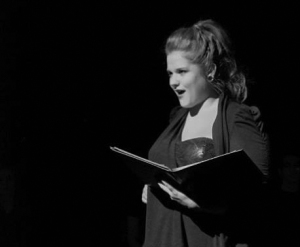 """Crystal Carter, theatre senior, rehearses her monologue """"I Can't Wait"""" as part of the production A Memory, a Monologue, a Rant, and a Prayer produced by Alpha Psi Omega."""