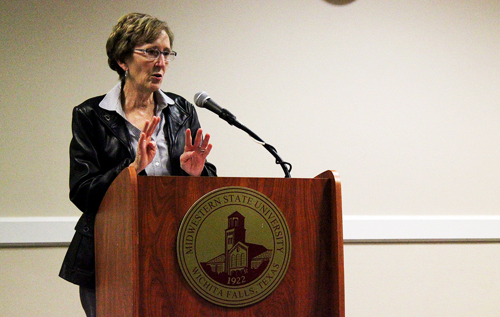 Guest speaker, Suzanne Shipley, University President, spoke about future plans for Midwestern State University at the Student Government Association in CSC Comanche Nov. 17, 2015. Photo by Francisco Martinez