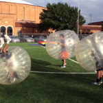 100 people indulge in bubble soccer madness