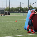 About 50 students play Archery Tag
