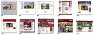 The website has gone through several redesigns over the years. Screen grabs from Wayback Machine and mwsu.edu.
