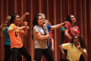 Midwestern State Cheerleaders performing at Lip Sync in the Akin Auditorium. 24 Oct. Photo by Bridget Reilly