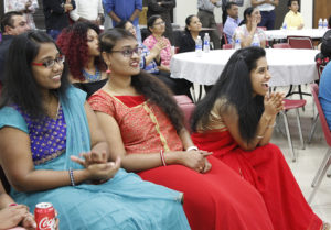 Gayatri Bhimani, Keerthi Reddy Gangidi and Tejaswi Singman, computer science graduate students, enjoy the celebration of the traditional holiday Diwali at the Sikes Lake Center, Sat, Nov. 6, 2017. Photo by Sara Keeling
