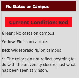 Campus moves to condition red over flu outbreak
