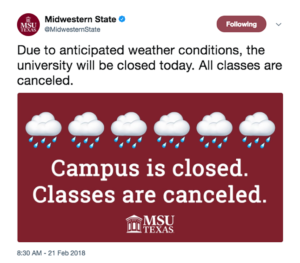 University twitter tweeted closed campus at 8:30 a.m.