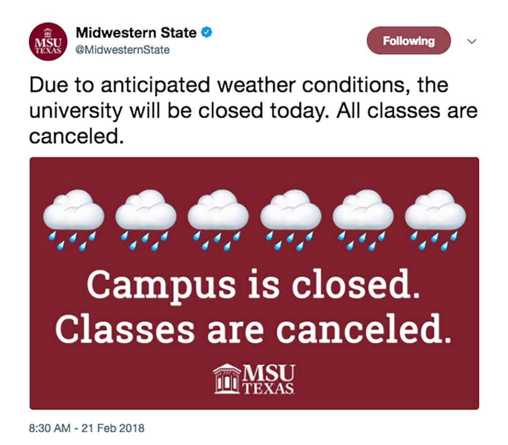 Campus closed Wednesday, anticipation for icy weather