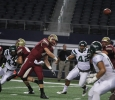 Quarterback Jake Glover, accounting senior, throws the ball at Midwestern State University v. Eastern New Mexico game at AT&T Cowboys Stadium in Arlington, Sept. 20, 2014. Photo by Lauren Roberts