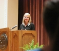 Elizabeth Smart answers Julie Terry's, local stay at home mom, question about ways that anyone can help with this cause and spread awareness. Photo by Rachel Johnson