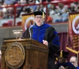 Retiring University President Jesse Rogers gives an opening speech into the ceremony at the Midwestern State University graduation, May 16, 2015 at the Kay Yeager Coliseum. Photo by Rachel Johnson