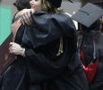 Rian Dilllard, theatre, hugs Laura Jefferson, theater professor, who is now retiring, at the Midwestern State University graduation, May 16, 2015 at the Kay Yeager Coliseum. Photo by Rachel Johnson