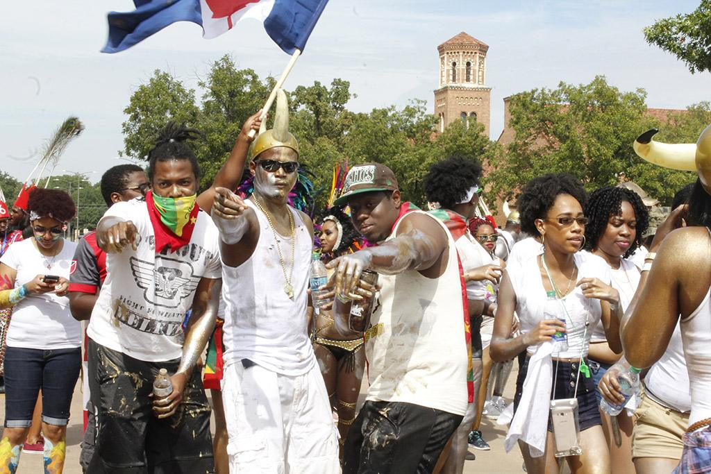 Carriben Students pose for a picture during the Caribfest parade as it came down Council Drive in front of Moffett Library on Sept.30, Photo by Sara Keeling