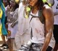 Okan Lafleur, mechanical engineer senior, dances during the Caribfest Parade that looped from Dillard to Jesse Rogers Promenade Sept. 30. Photo by Rachel Johnson