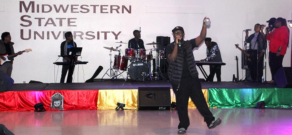 DJYO sings Work Pan It as his talent for the 2017 Caribfest Soca Show hosted in the Sikes Lake Center. Sept. 29. Photo by Marissa Daley