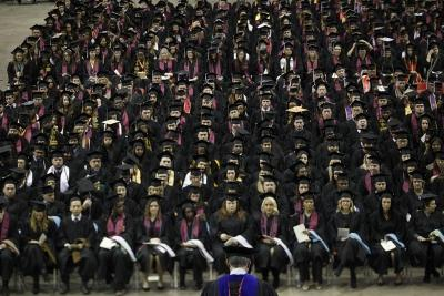 A total of 502 graduates sit down during the MSU commencement ceremony at Kay Yeager Coliseum. Saturday Dec. 16, 2017. Photo by Francisco Martinez