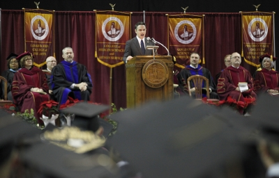 Ricahard Young, commencement speaker, addresses the guest and graduates during MSU's commencement ceremony at Kay Yeager Coliseum. Saturday Dec. 16, 2017. Photo by Francisco Martinez