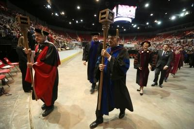 After the ceremony, the longest-serving faculty members Evertt Kindig and Harry Hewitt led the recessional. Photo by Bradley Wilson
