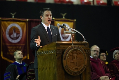 Richard Glen Young delivers the commencement address at graduation, Dec. 16, 2017. Photo by Bradley Wilson