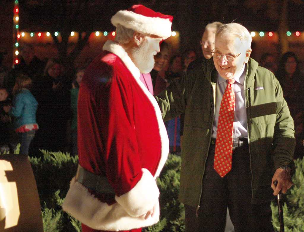 Santa, Woodrow Gossom County Judge, and Bill Thacker at the MSU Burns Fantasy of Lights on the front lawn of the Hardin Building on Monday, Nov. 20, 2017. Photo by Justin Marquart