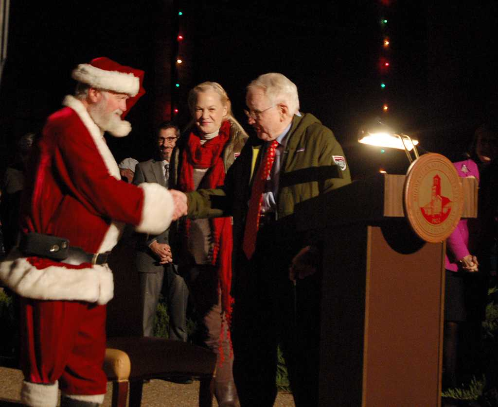 Santa Clause comes out to greet the kids at the MSU- Burns Fantasy of Lights in the front lawn of the Hardin building on Nov. 20, 2017. photo by Shea James