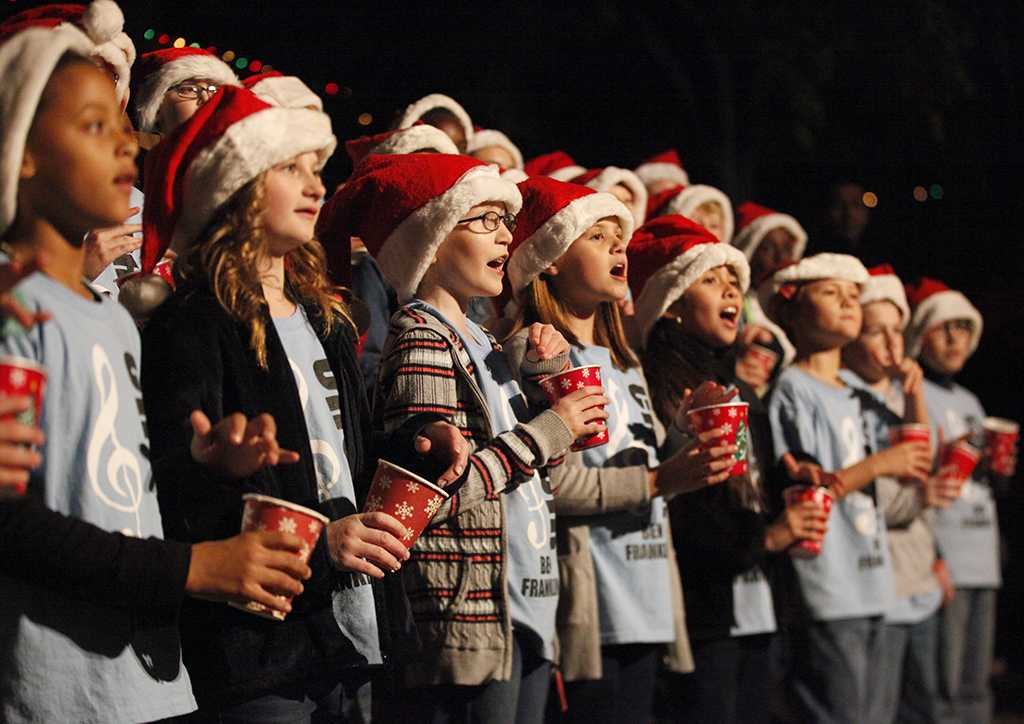 Ben Franklin Elementry Choir preforms during the MSU Burns Fantasy of Lights Opening Night at Akin Auditorium, Monday, Nov. 20, 2017. Photo by Francisco Martinez