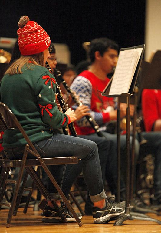 The Wind Ensemble performs a varety of Christmas songs at the end of the MSU-Burns Fantasy of Lights opening ceromony in Akin Auditorium Monday, Nov. 20, 2017. Photo by Rachel Johnson