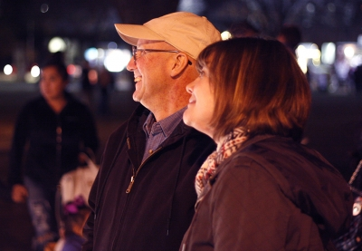 Mark Robinson and Jessica Hulett, mass communication and theater secratery, look at the attractions at the MSU Burns Fantasy of Lights on the front lawn of the Hardin Building on Monday, Nov. 20, 2017. Photo by Justin Marquart