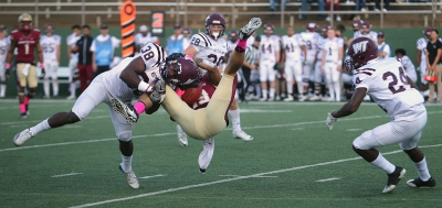 Wide receiver D.J. Myers, senior, goes down at the homecoming game against West Texas A&M Oct. 21, 2017. MSU won the game, called with about 5 minutes left on the clock due to weather, 45-3. Photo by Bradley Wilson.