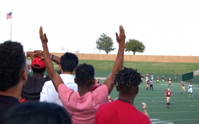 Students cheer as we score at the homecoming game on Saturday, Oct. 21, 2017. Photo by Shea James