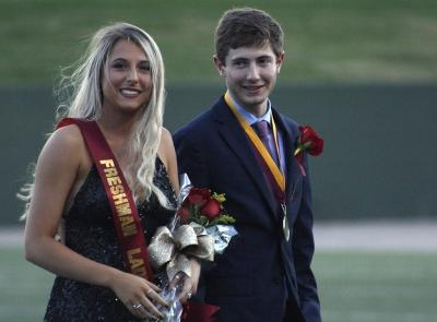 Kaylee Rhine, nursing freshman, and Kale Hutchins, general business freshman, the Lady and Lords of the homecoming court on the field during halftime of the homecoming game against West Texas where the Mustangs won 45-3 at Memorial stadium on Saturday, Oct. 21, 2017. Photo by Justin Marquart